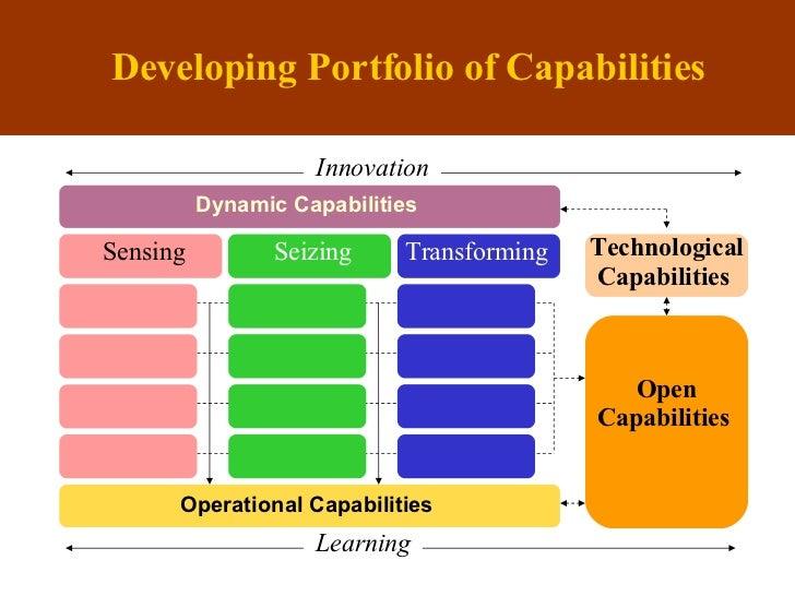 Developing Portfolio of Capabilities Ope rational  Capabilities Technological Capabilities  Transforming Seizing Sensing O...