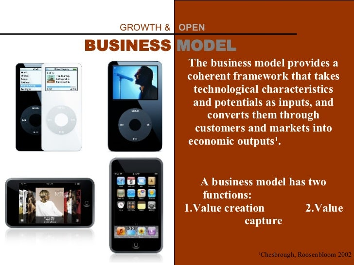 GROWTH &  OPEN   BUSINESS  MODEL The business model provides a coherent framework that takes technological characteristics...