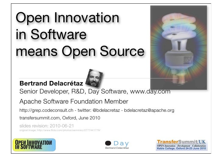 Open Innovation in Software means Open Source   Bertrand Delacrétaz  Senior Developer, R&D, Day Software, www.day.com  Apa...