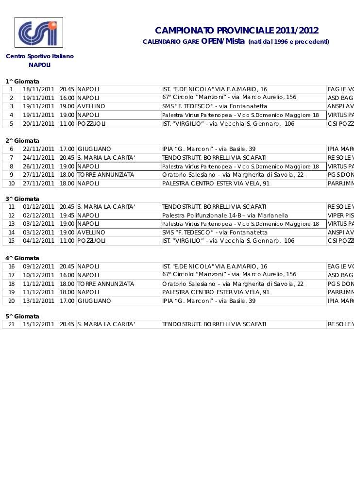 CAMPIONATO PROVINCIALE 2011/2012                                                 CALENDARIO GARE   OPEN/Mista       (nati ...