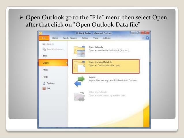 how to close outlook data file