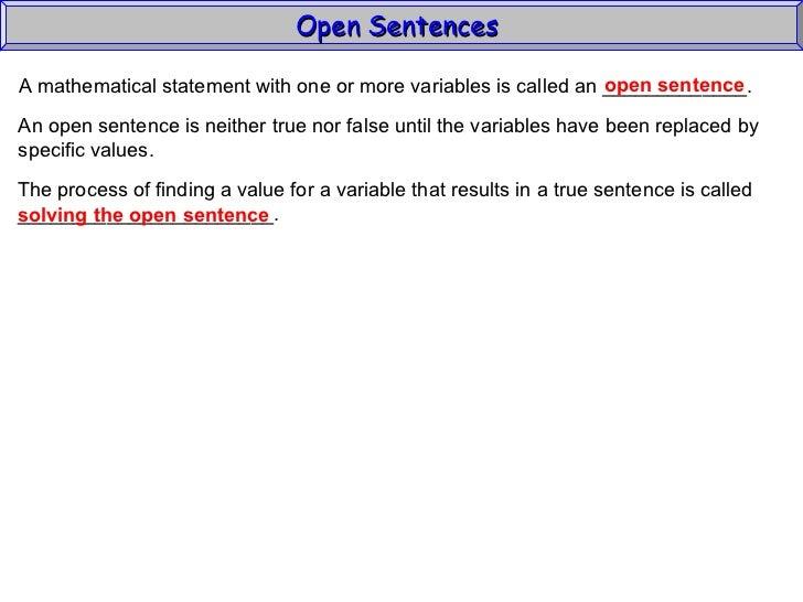 Mathematical sentence | tutorvista.