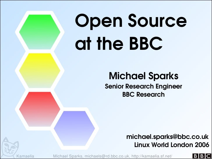Open Source                       at the BBC                                        Michael Sparks                        ...