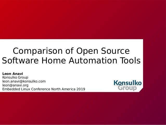 Comparison of Open Source Software Home Automation Tools Leon Anavi Konsulko Group leon.anavi@konsulko.com leon@anavi.org ...