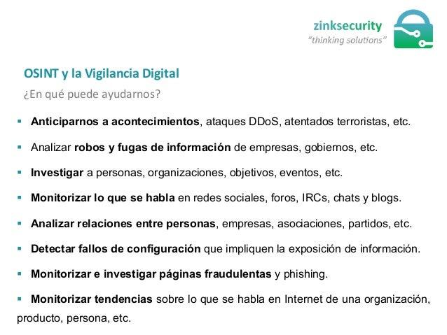 § Anticiparnos a acontecimientos, ataques DDoS, atentados terroristas, etc. § Analizar robos y fugas de información de...