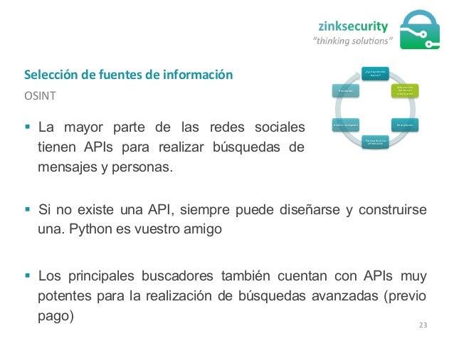 Selección  de  fuentes  de  información   OSINT   ¿Qué  queremos   buscar?   Selección  de   fuentes...