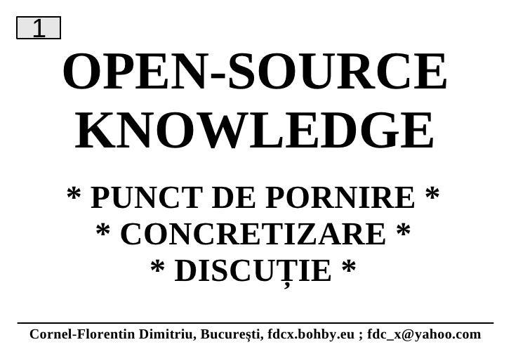Open-Source Knowledge - Cornel-Florentin Dimitriu