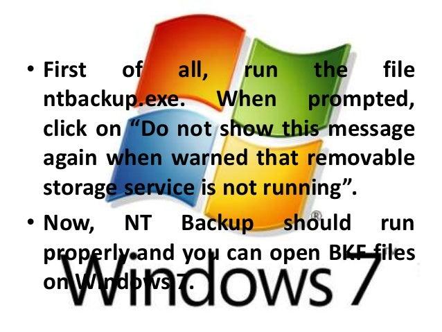 Open Windows XP Backup In Windows 7