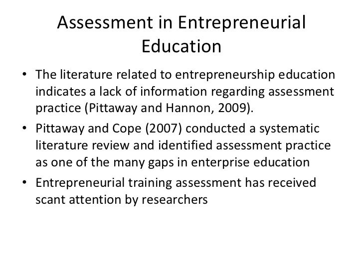entrepreneurship assessment Extending beyond qualitative assessment, we undertook a meta- analysis   many reviews and assessments of the entrepreneurship research field have.