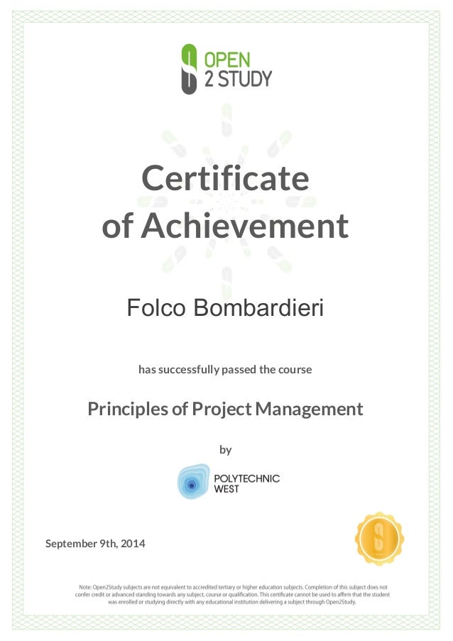 Certificate Of Achievement Principle Of Project Management