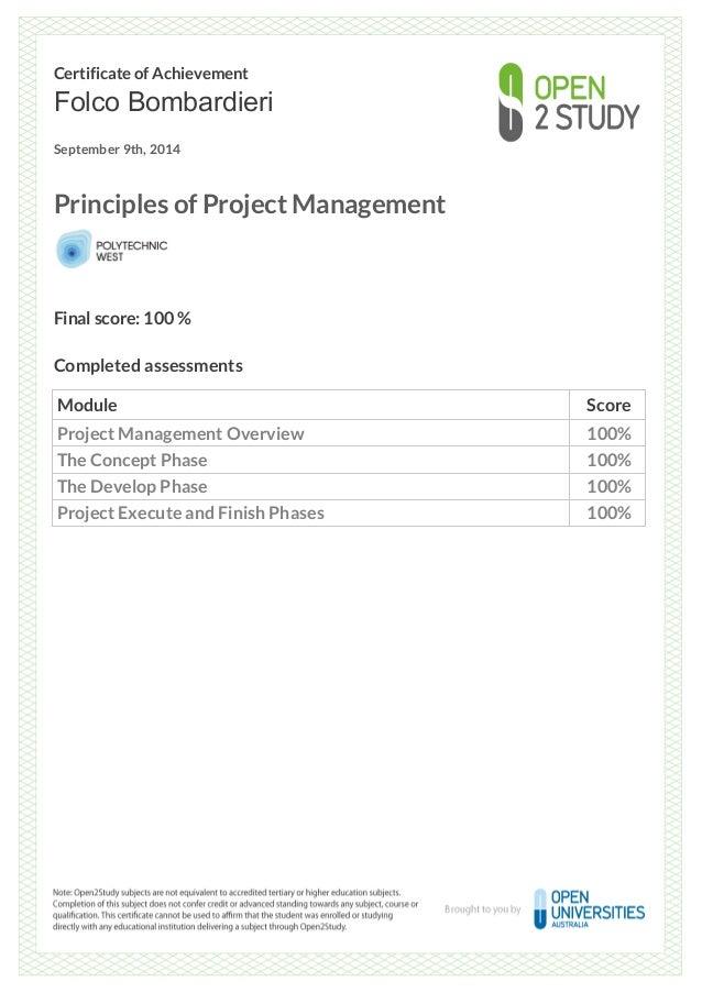 Certificate Of Achievement Principle Of Project Management