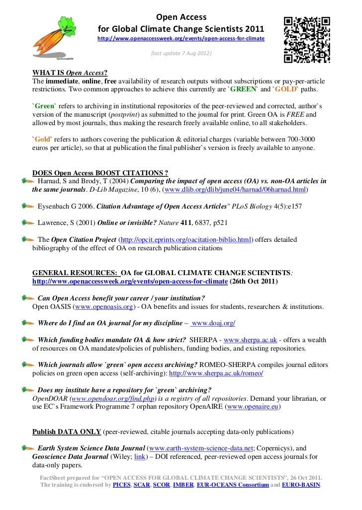 Open Access                       for Global Climate Change Scientists 2011                       http://www.openaccesswee...
