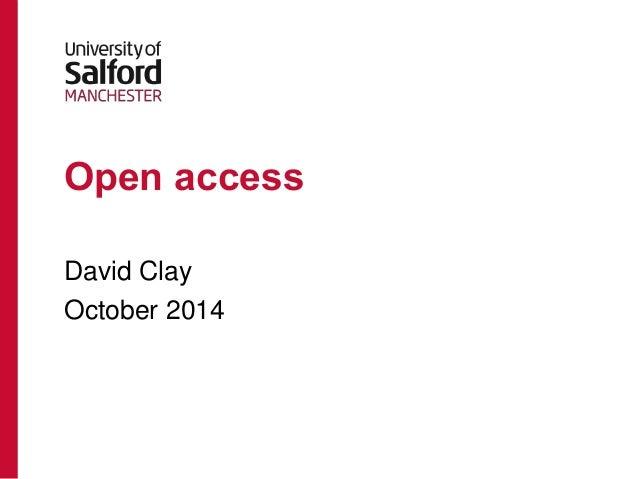 Open access  David Clay  October 2014