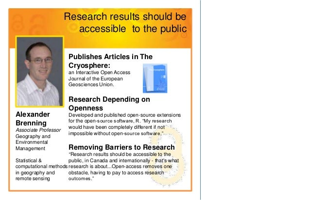 Research results should be                        accessible to the public                       Publishes Articles in The...
