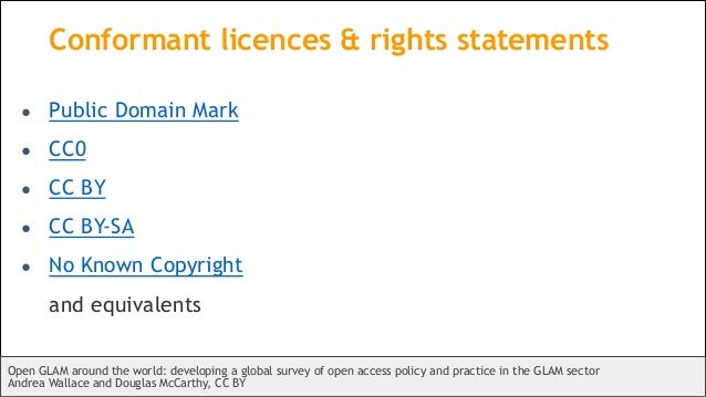 Conformant licences & rights statements ● Public Domain Mark ● CC0 ● CC BY ● CC BY-SA ● No Known Copyright and equivalents...