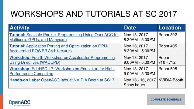WORKSHOPS AND TUTORIALS AT SC 2017 COMPLETE SCHEDULE Activity Date Location Tutorial: Scalable Parallel Programming Using ...