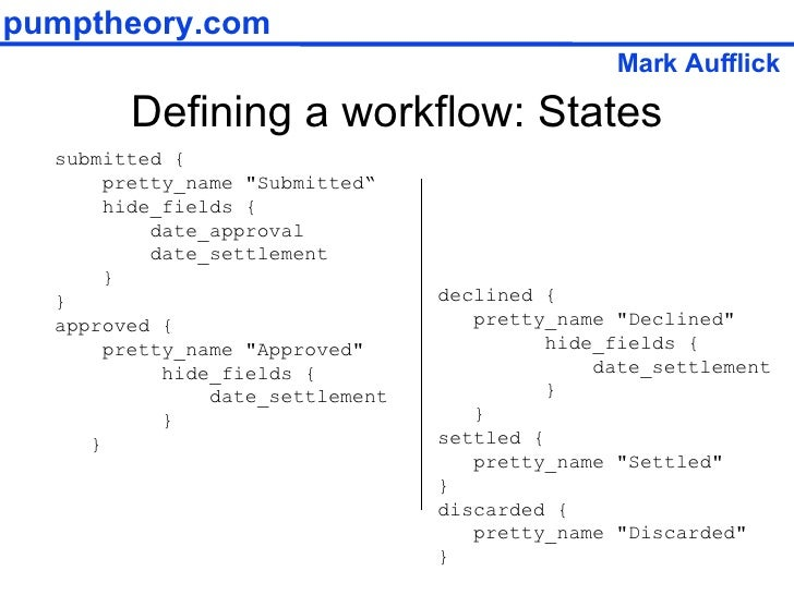 """Defining a workflow: States submitted { pretty_name """"Submitted"""" hide_fields { date_approval date_settlement } } appro..."""