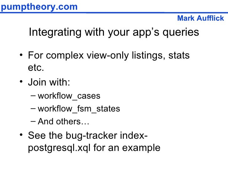 Integrating with your app's queries <ul><li>For complex view-only listings, stats etc. </li></ul><ul><li>Join with: </li><...