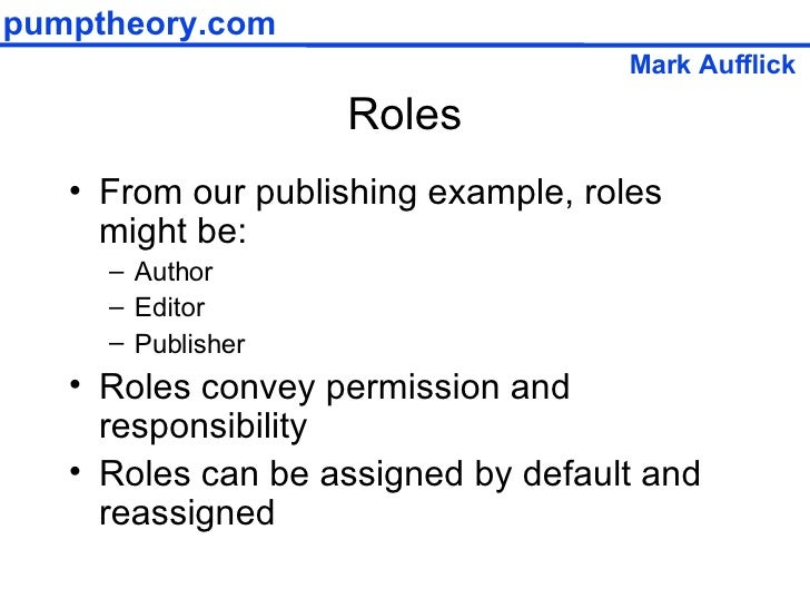 Roles <ul><li>From our publishing example, roles might be: </li></ul><ul><ul><li>Author </li></ul></ul><ul><ul><li>Editor ...