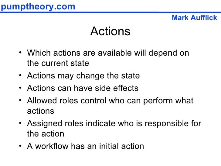 Actions <ul><li>Which actions are available will depend on the current state </li></ul><ul><li>Actions may change the stat...