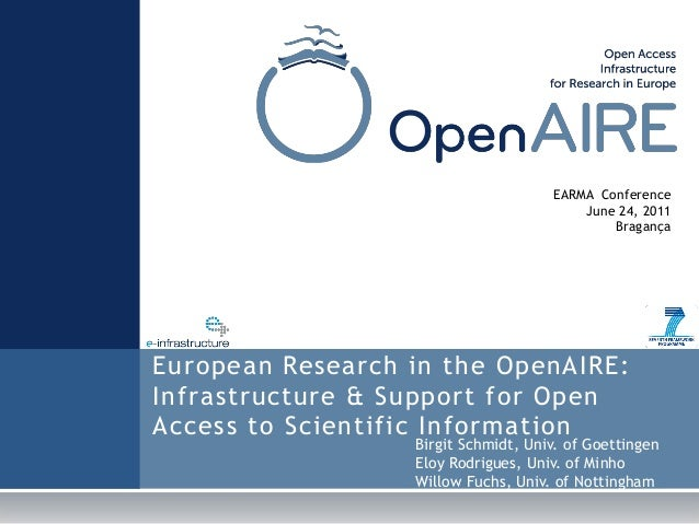 European Research in the OpenAIRE: Infrastructure & Support for Open Access to Scientific Information EARMA Conference Jun...
