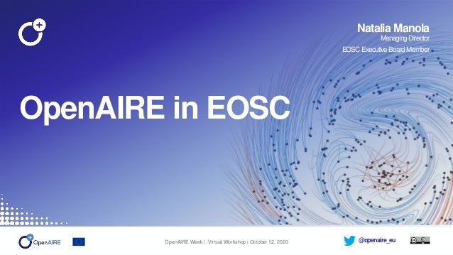 @openaire_eu OpenAIRE in EOSC Natalia Manola ManagingDirector EOSCExecutive BoardMember OpenAIRE Week | Virtual Workshop |...