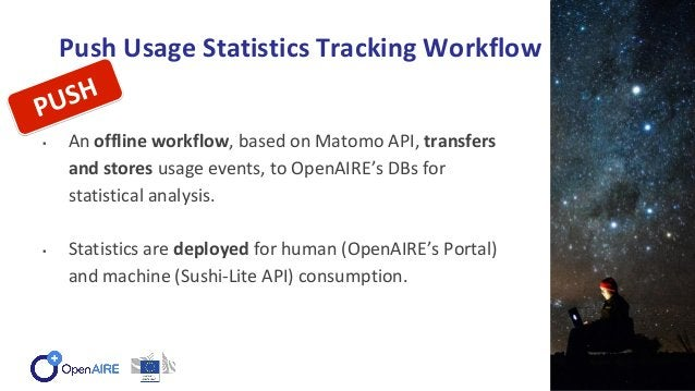 Push Usage Statistics Tracking Workflow ▪ An offline workflow, based on Matomo API, transfers and stores usage events, to ...