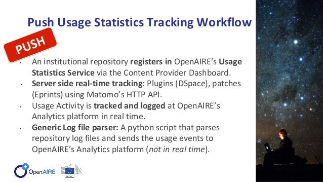 Push Usage Statistics Tracking Workflow ▪ An institutional repository registers in OpenAIRE's Usage Statistics Service via...