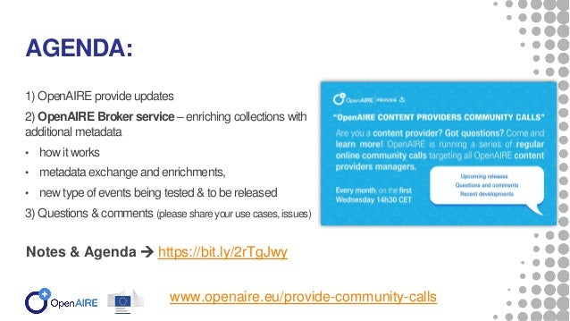 3rd Content Providers Community Call Slide 2