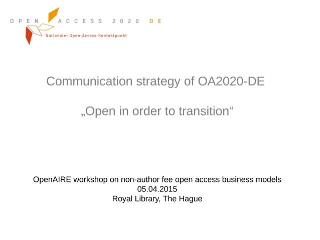 OpenAIRE workshop: Beyond APCs - Alexandra Jobmann (University of Bielefeld, Germany)