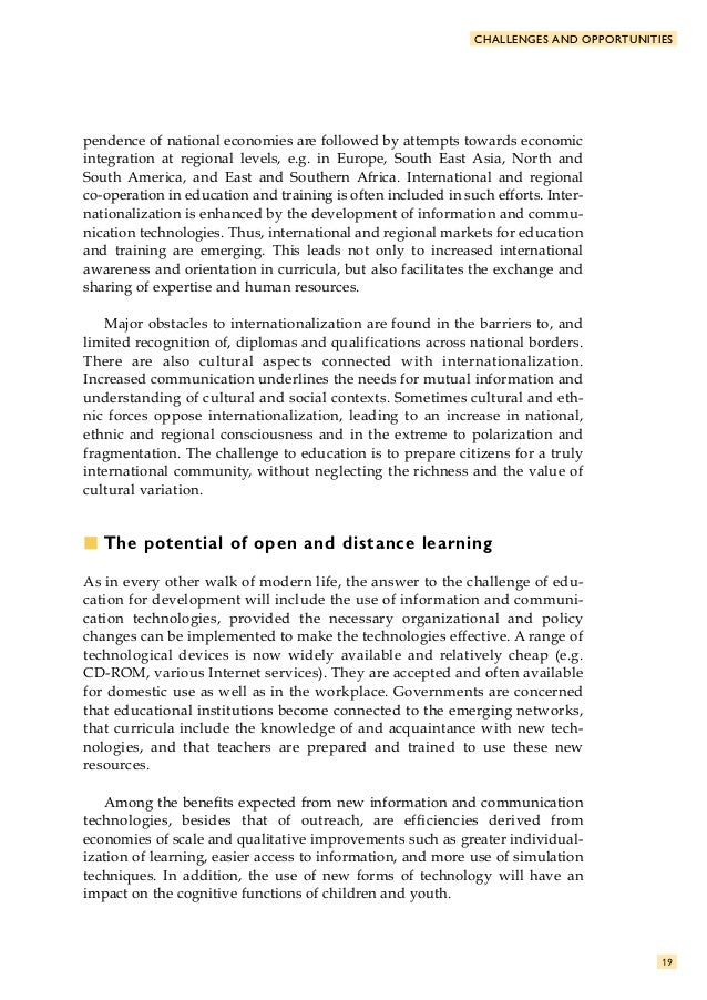 open distance learning Open distance learning is an idea of education system where separation between teachers and learners by space and/or time according to (prospectus, 2011) the .