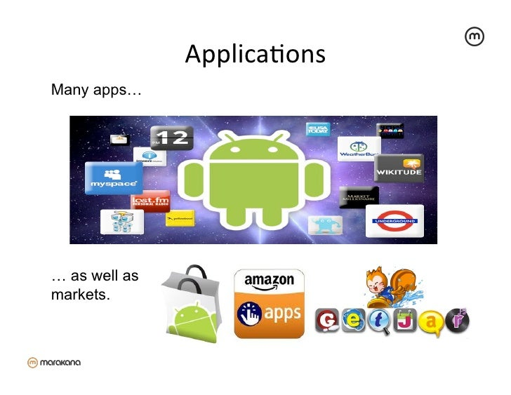 ApplicaZons Many apps…… as well asmarkets.