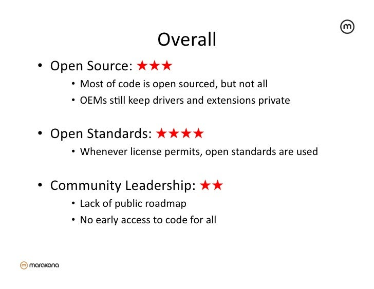 Overall                                             • Open Source: ★★★      • Most of code is open sourc...