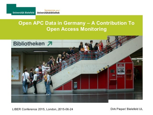 Open APC Data in Germany – A Contribution To Open Access Monitoring Dirk Pieper/ Bielefeld ULLIBER Conference 2015, London...