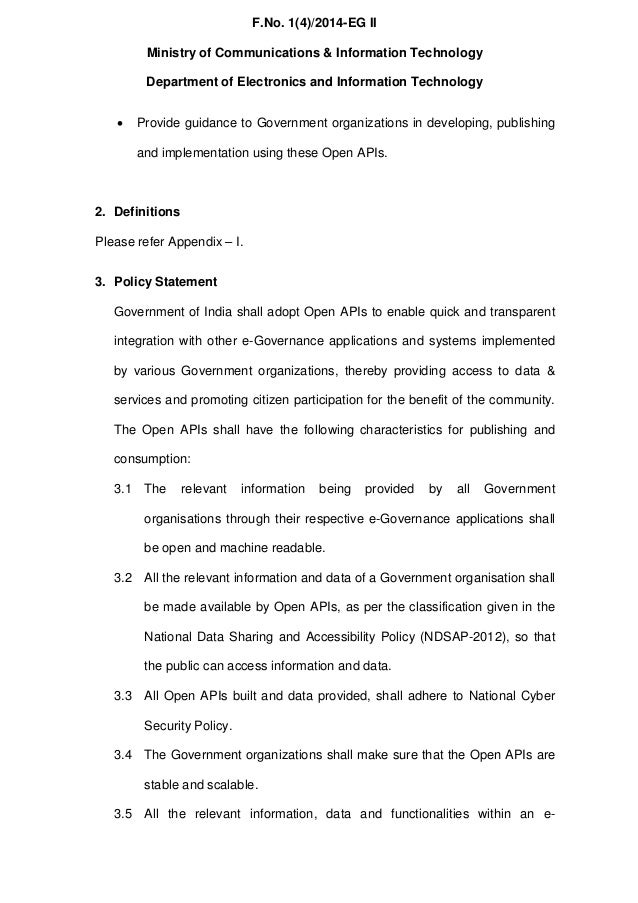 Policy on Open Application Programming Interfaces (APIs) for Government of India Slide 3