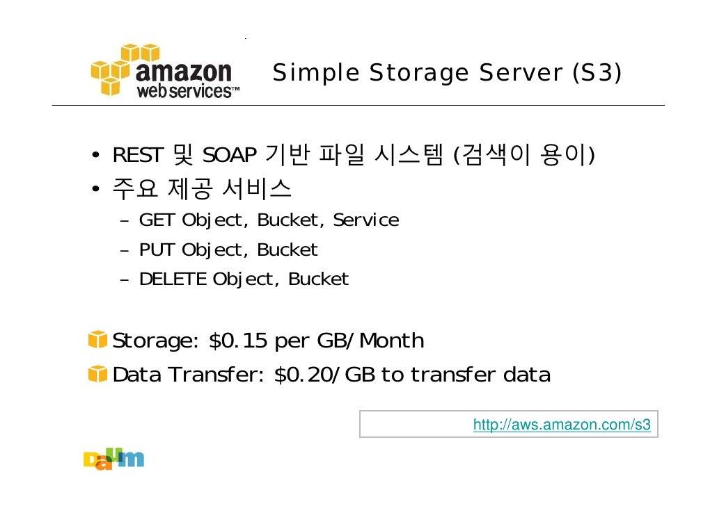 Simple Storage Server (S3)   • REST 및 SOAP 기반 파일 시스템 (검색이 용이) • 주요 제공 서비스  – GET Object, Bucket, Service  – PUT Object, Bu...
