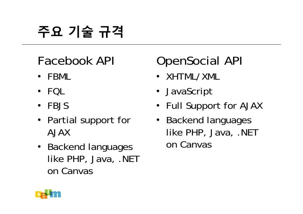 주요 기술 규격  Facebook API             OpenSocial API   FBML                       XHTML/XML •                        •   FQL ...