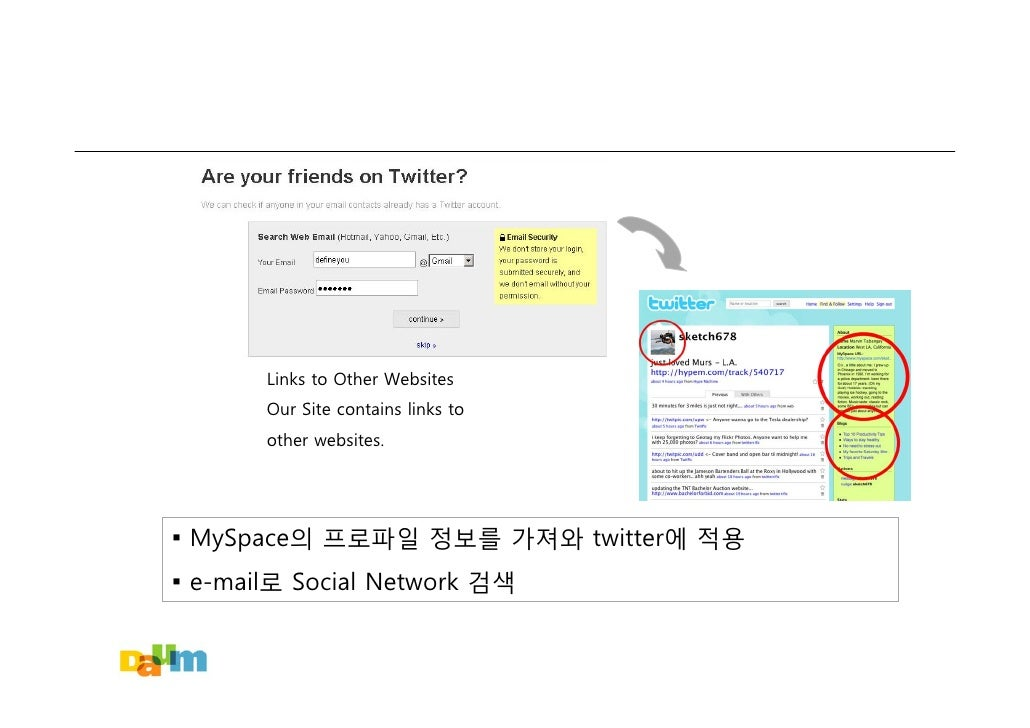 Links to Other Websites        Our Site contains links to        other websites.     ▪ MySpace의 프로파일 정보를 가져와 twitter에 적용 ▪...