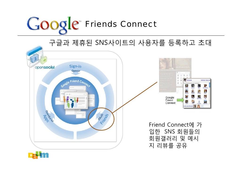 Friends Connect  구글과 제휴된 SNS사이트의 사용자를 등록하고 초대                        Friend Connect에 가                    입한 SNS 회원들의     ...