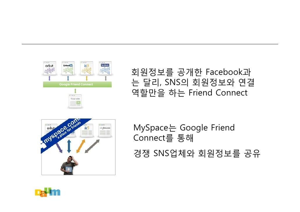 회원정보를 공개한 Facebook과 는 달리, SNS의 회원정보와 연결 역할만을 하는 Friend Connect    MySpace는 Google Friend Connect를 통해 경쟁 SNS업체와 회원정보를 공유
