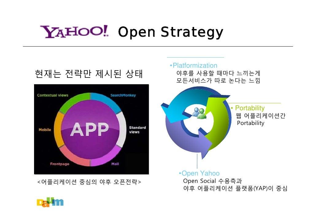 Open Strategy                         •Platformization 현재는 전략만 제시된 상태           야후를 사용할 때마다 느끼는게                          ...