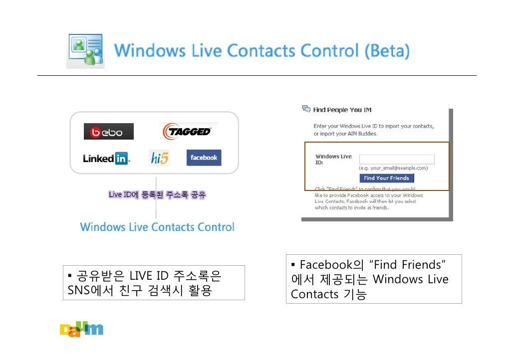 "▪ Facebook의 ""Find Friends"" ▪ 공유받은 LIVE ID 주소록은   에서 제공되는 Windows Live SNS에서 친구 검색시 활용       Contacts 기능"