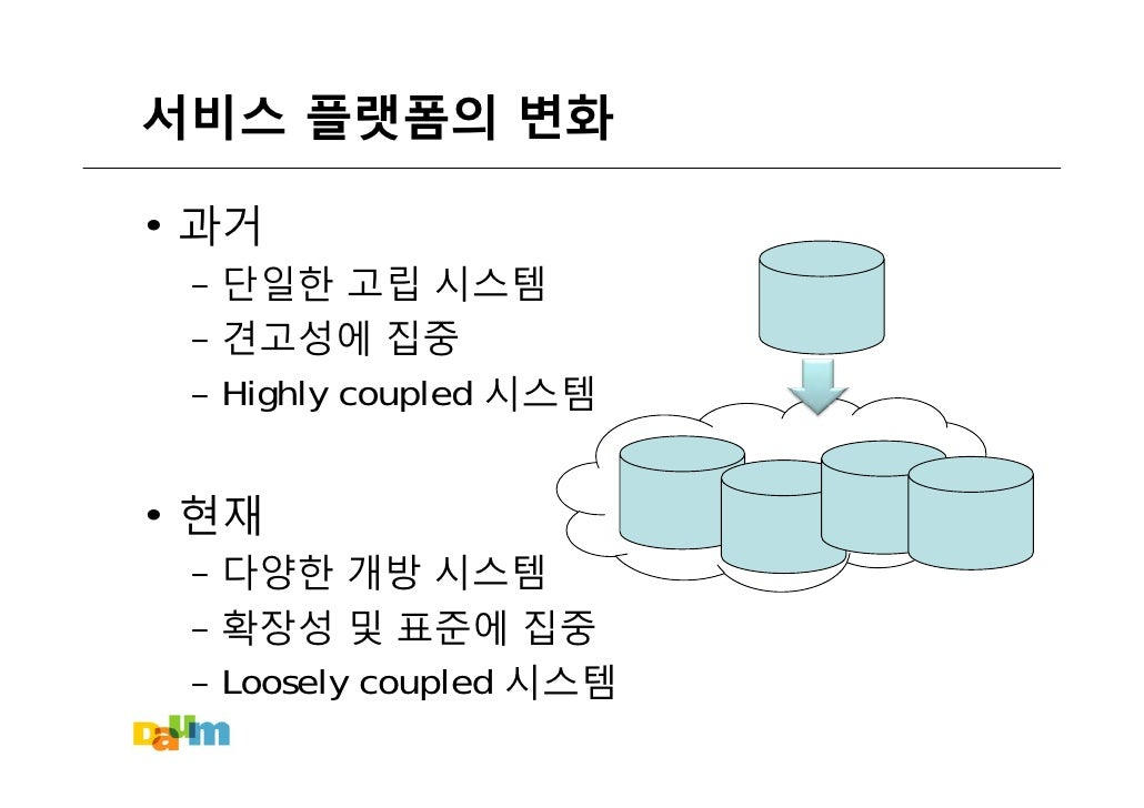 서비스 플랫폼의 변화  • 과거  – 단일한 고립 시스템  – 견고성에 집중  – Highly coupled 시스템   • 현재  – 다양한 개방 시스템  – 확장성 및 표준에 집중  – Loosely coupled 시스템
