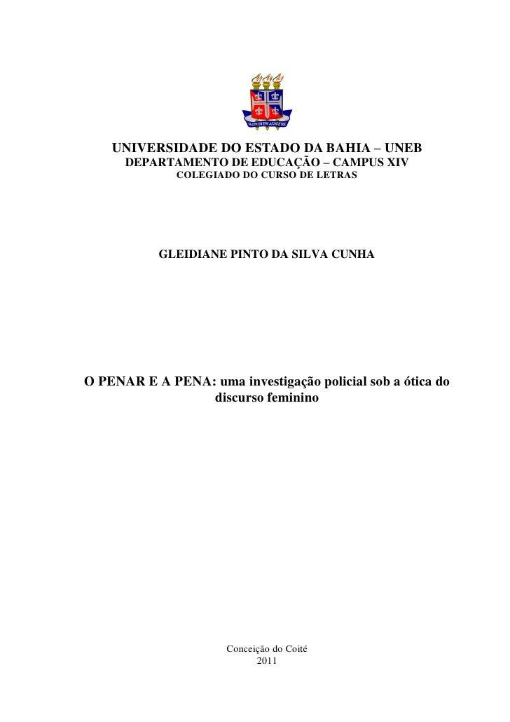 UNIVERSIDADE DO ESTADO DA BAHIA – UNEB      DEPARTAMENTO DE EDUCAÇÃO – CAMPUS XIV              COLEGIADO DO CURSO DE LETRA...