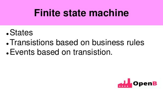 Finite state machine  States  Transistions based on business rules  Events based on transistion. Finite state machine
