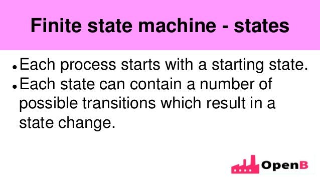 Finite state machine  Each process starts with a starting state.  Each state can contain a number of possible transition...