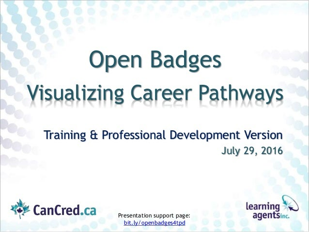 Open Badges Visualizing Career Pathways Training & Professional Development Version July 29, 2016 Presentation support pag...