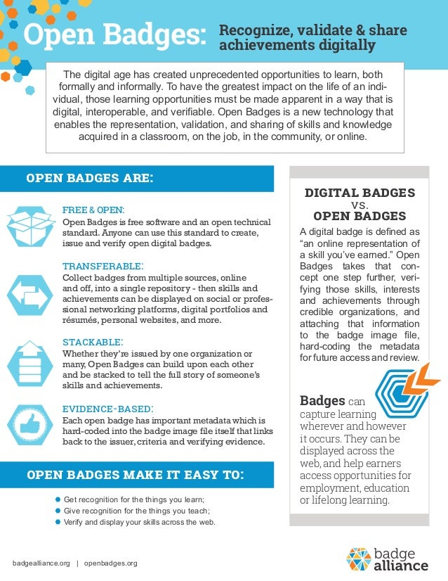 Recognize, validate & share achievements digitally Digital Badges vs. Open Badges Badges can capture learning wherever and...