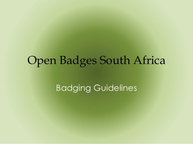 Open Badges South Africa Badging Guidelines