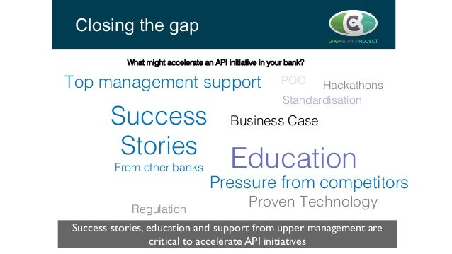 Closing the gap Success stories, education and support from upper management are critical to accelerate API initiatives  ...